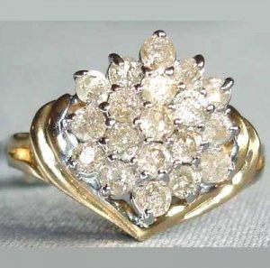 1 carat genuine diamond solid gold ring
