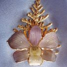 Lacquered and 24 karat gold-plated Real Orchid brooch