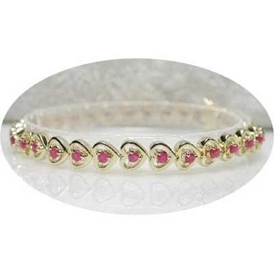 2.50 carat ruby gold hearts bracelet