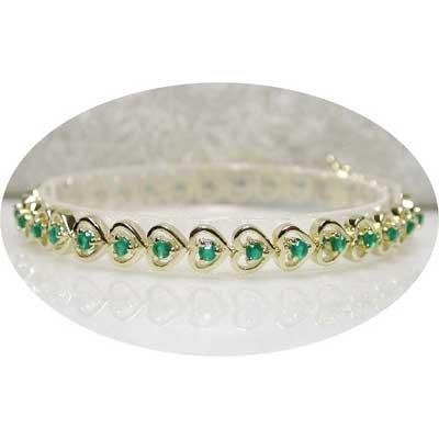 1.7 carat emerald agate gold hearts bracelet