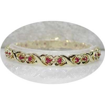 2.6 carat ruby gold hearts bracelet