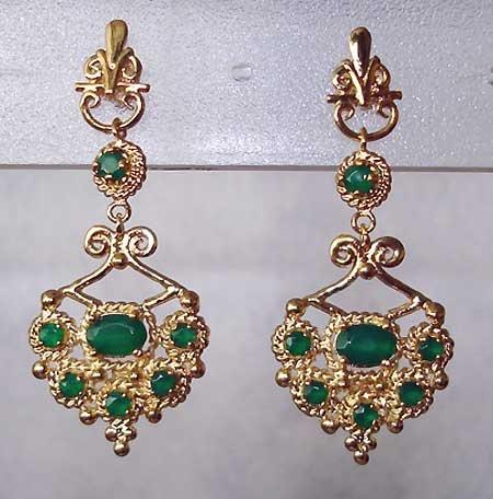 2.50 carat Emerald Agate filigree chandellier earrings