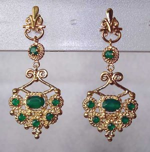 2.50 carat Emerald Agate filigree chandellier earrings