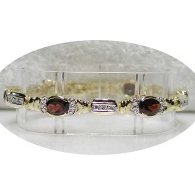 Designer 9.11 carat GARNET & DIAMOND tennis bracelet