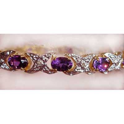 7.10ctw Amethyst & Diamond gold bracelet