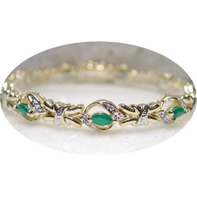 2.11 ctw Emerald Agate & Diamond bracelet
