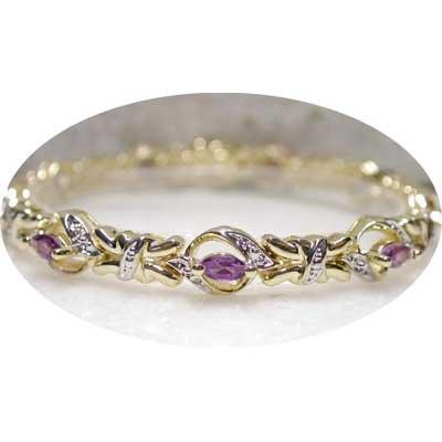 2.01 ctw Genuine Amethyst & Diamond bracelet