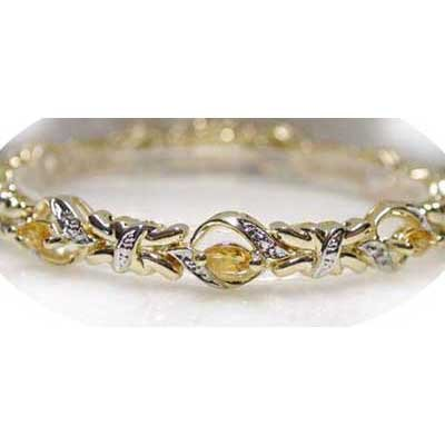 2.11 ctw Genuine Citrine & Diamond bracelet