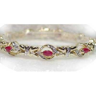 2.61 ctw Genuine Ruby & Diamond bracelet