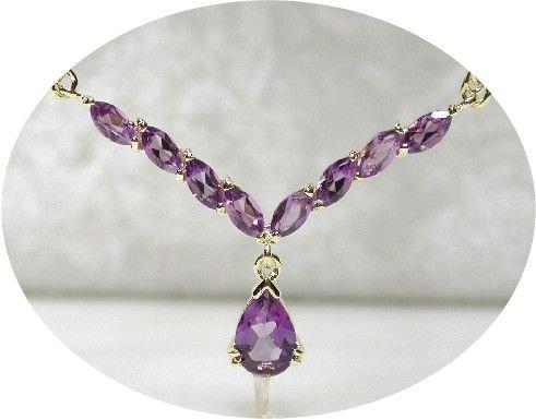 4 carat genuine AMETHYST gold drop necklace