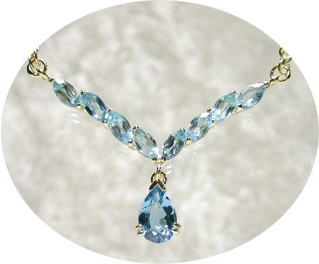 3.5 ctw genuine BLUE TOPAZ gold drop necklace