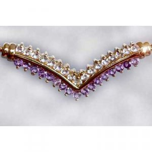 AMETHYST and WHITE TOPAZ gold necklace