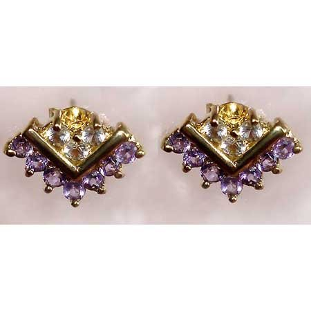 0.65 ctw Amethyst & White Topaz earrings