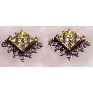 0.65 ctw Amethyst & White Topaz earrings