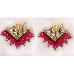 0.85 ctw Ruby & White Topaz earrings