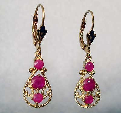 Lever-back genuine RUBY gold filigree earrings
