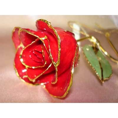 Lacquered & 24k gold-plated red rose with HEART stem