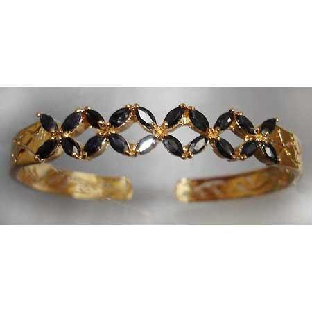 3 carat genuine SAPPHIRE gold bangle