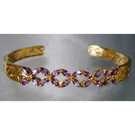 3 carat genuine AMETHYST gold bangle