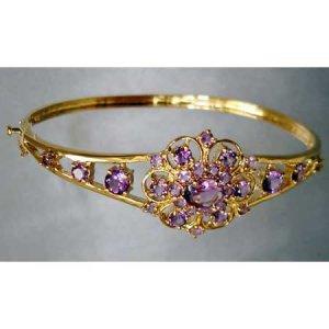 4.50 carats genuine AMETHYST gold bangle