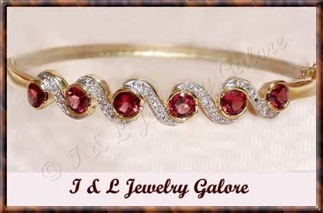 3.5ctw GENUINE GARNET gold bangle