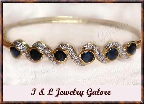 3.2ctw genuine SAPPHIRE gold bangle