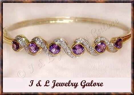 3.2ctw genuine AMETHYST gold bangle