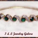 3.3ctw genuine EMERALD AGATE gold bangle