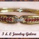 3.00 carat GENUINE Garnet & DIAMOND gold bangle