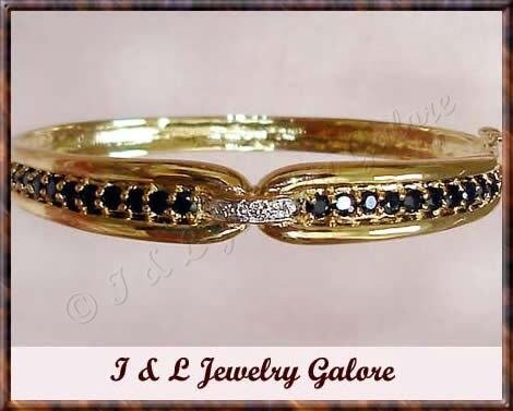 3.2ct SAPPHIRE & DIAMOND gold bangle
