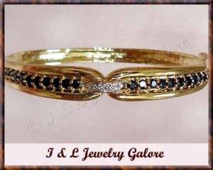 3.2ct SAPPHIRE & DIAMOND gold bangle