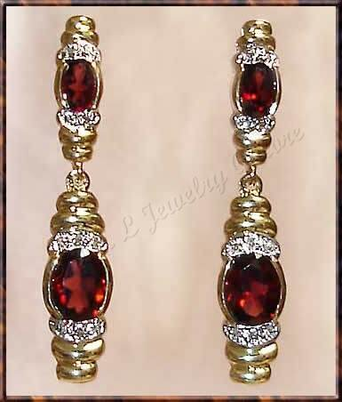 4.06 carat GARNET & DIAMOND gold drop earrings