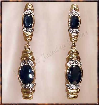 4.56 carat SAPPHIRE & DIAMOND gold drop earrings