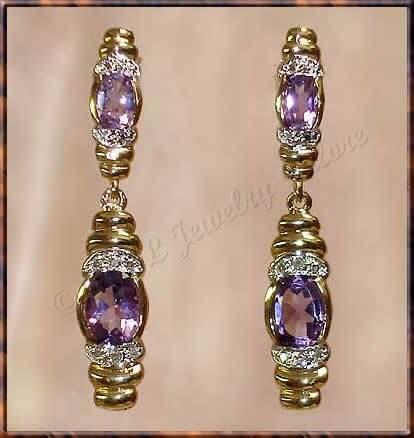 3.06 carat AMETHYST & DIAMOND gold drop earrings