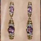 3.06 carat AMETHYST & DIAMOND gold drop earrings