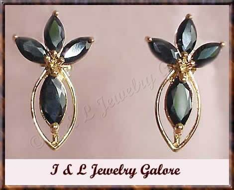 3.50ctw genuine SAPPHIRE gold earrings