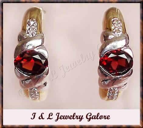 2.58 carat GARNET & DIAMOND J-hoop gold earrings