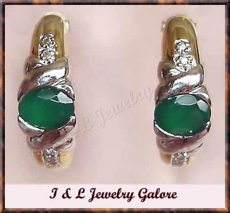 1.28 carat Emerald Agate & DIAMOND J-hoop gold earrings