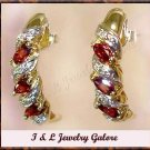 1.3ctw GARNET & DIAMOND J-hoop gold earrings