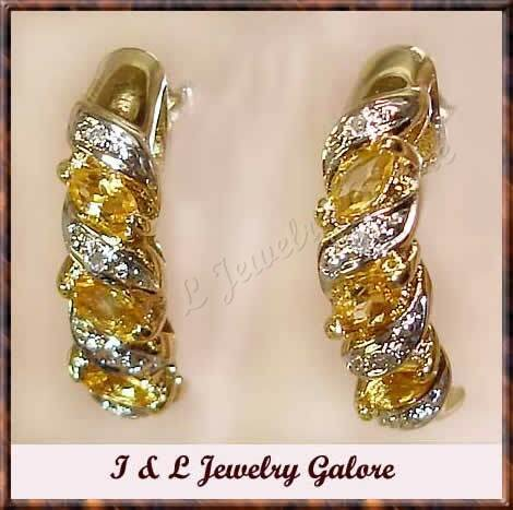 Genuine CITRINE & DIAMOND J-hoop gold earrings