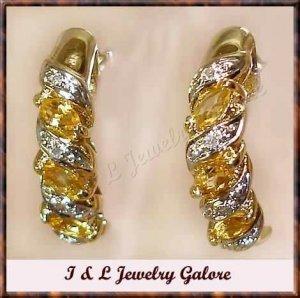 Genuine CITRINE & DIAMOND J-hoop gold earrings