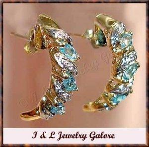 GENUINE Blue TOPAZ & DIAMOND J-hoop gold earrings