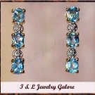 3.28 carat Blue Topaz & Diamond earrings