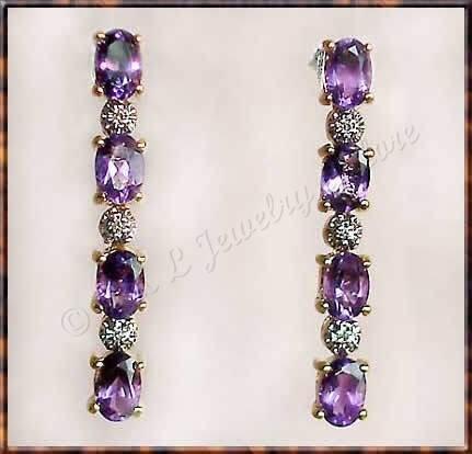 2.79 carat Amethyst & Diamond earrings