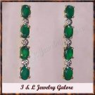 2.54 carat Emerald Agate & Diamond earrings