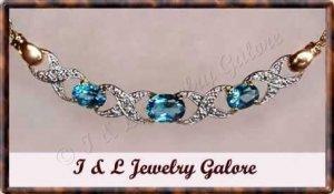 3.03 ctw genuine Blue Topaz & Diamond necklace