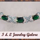 2.03 carat Genuine Emerald agate & DIAMOND gold necklace