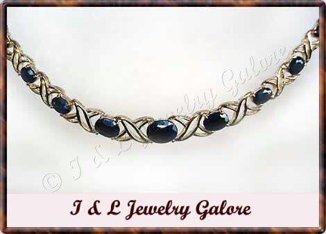 7.25 carat genuine SAPPHIRE gold necklace