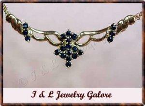 Unique genuine SAPPHIRE designer style gold necklace
