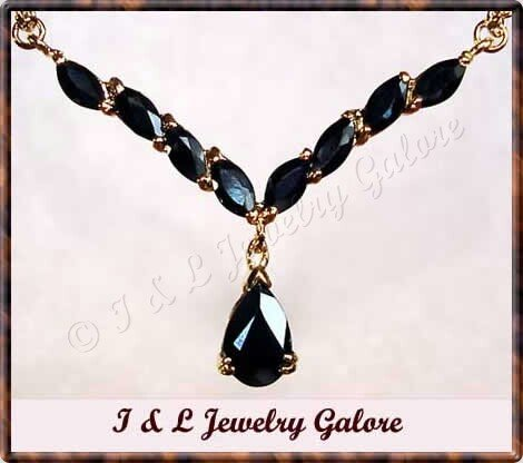 4 carat genuine Sapphire gold drop necklace